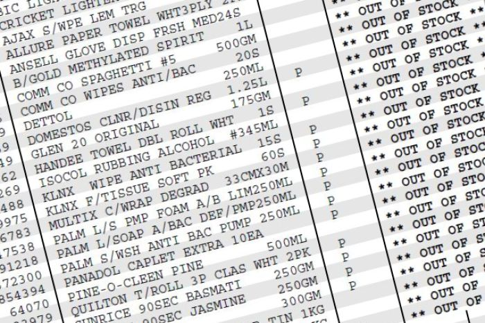 An invoice lists product names with OUT OF STOCK written next to them.
