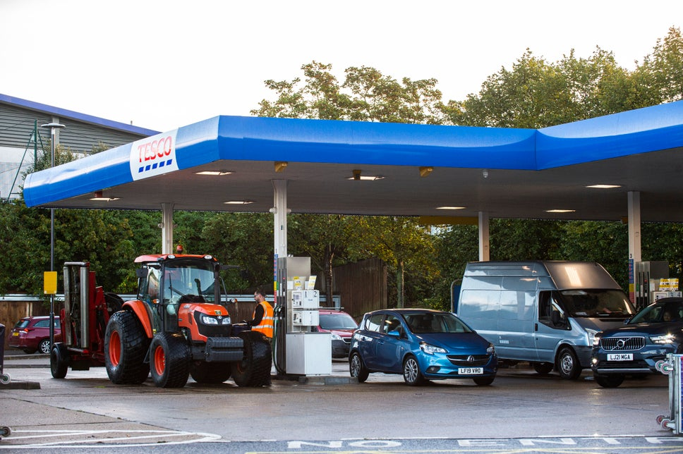 A member of the public fills up his tractor at a Tesco Extra in West Sutton.